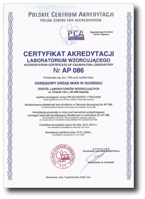 Certyfikat akredytacji AP 086